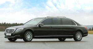 Mercedes SClass 600L black extended exterior carat limousine